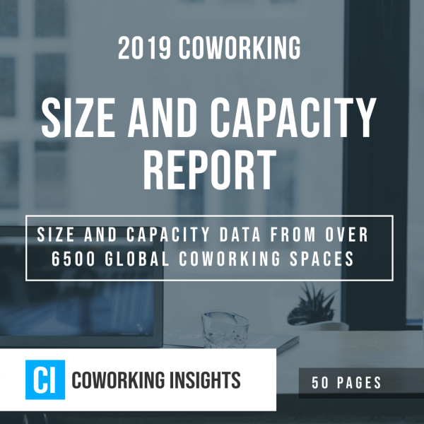 A title graphic for the 2019 Coworking Size and Capacity Report.