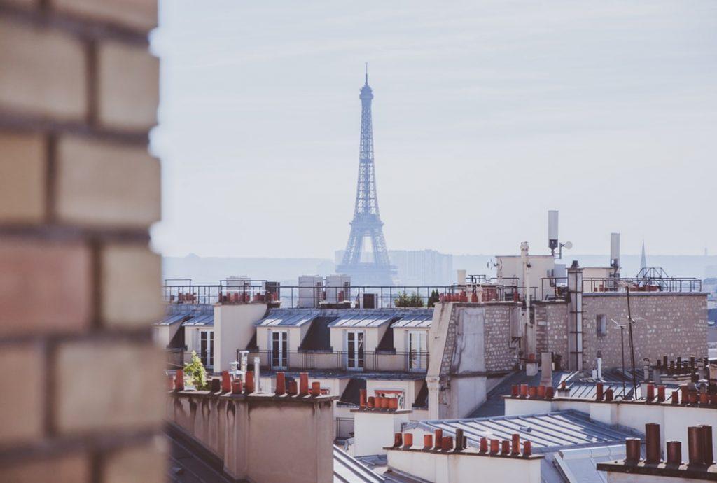 An aerial view of Paris, France.