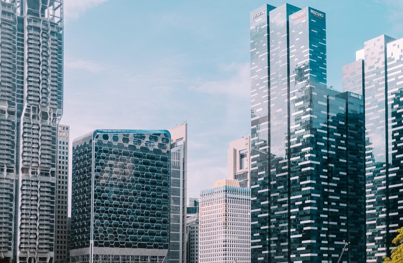 A photo of the Singapore skyline.