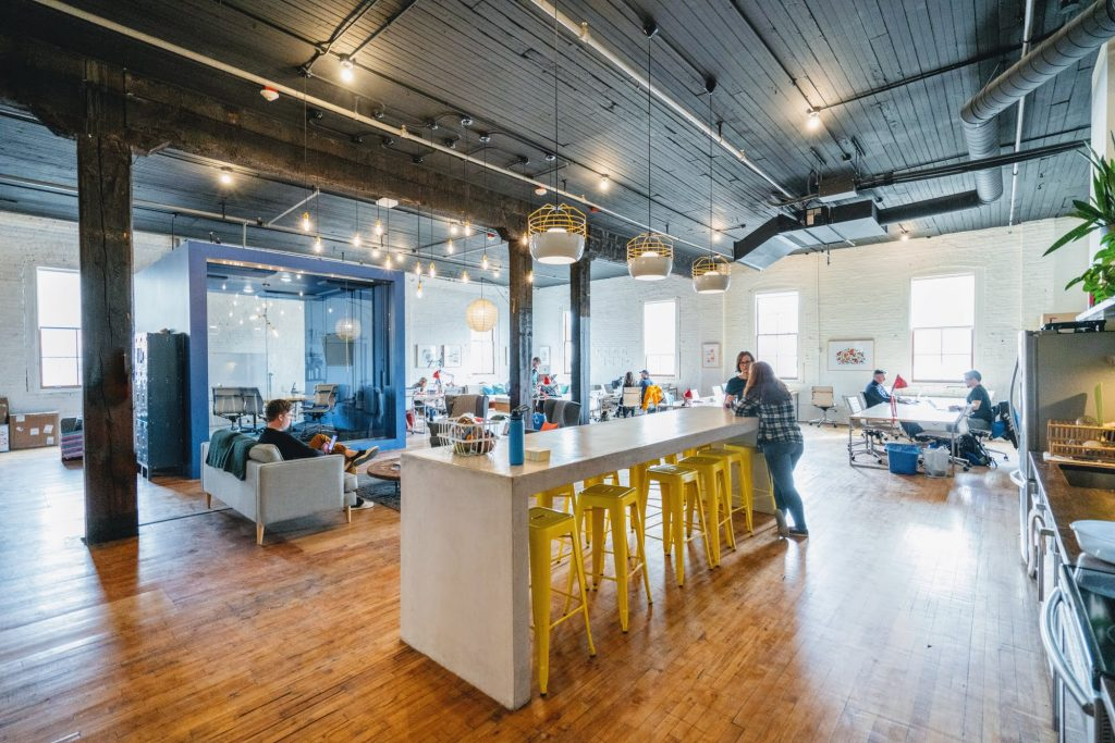 A coworking space in the suburbs.