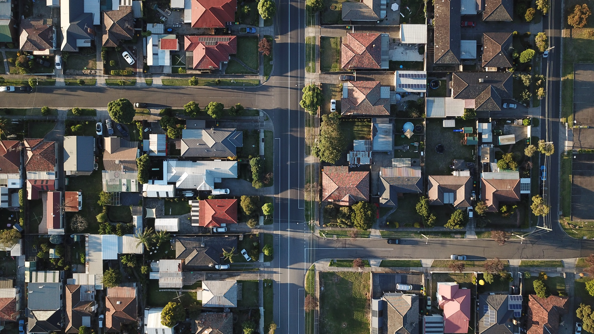 An aerial view of suburbs.