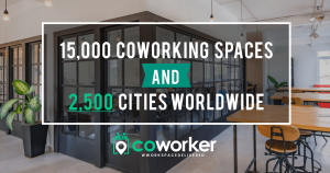A graphic illustrating Coworker.com's latest milestone of reaching 15,000 coworking spaces in its network.