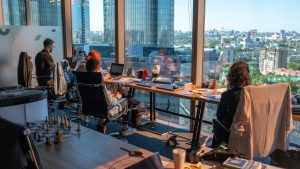 A coworking office.