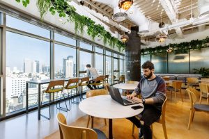 A view of a coworking space in Israel.
