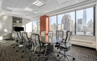 A coworking space with views of Manhattan.